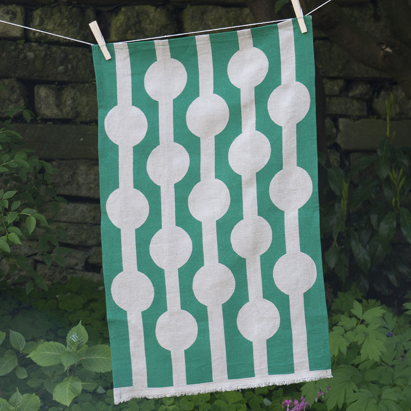Abstract Circles Tea Towel - Green