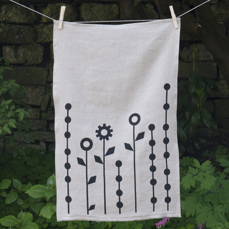 Geometric Flowers Tea Towel