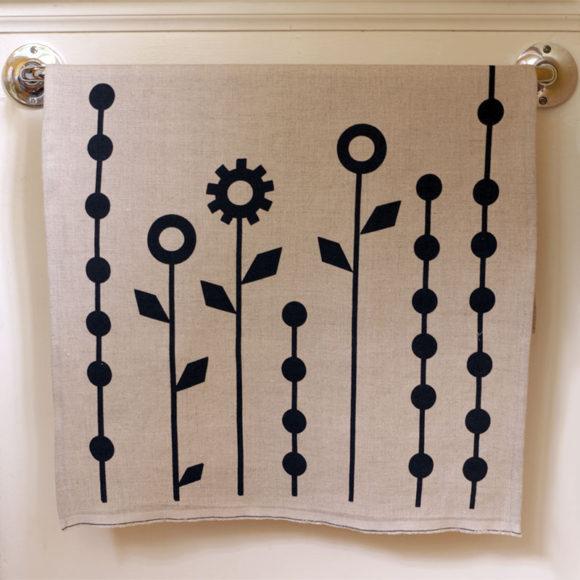 Geometric Flowers Tea Towel
