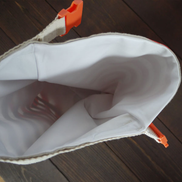 Roll Top Linen Lunch Bag - Inside