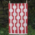 Red Circles Linen Tea Towel