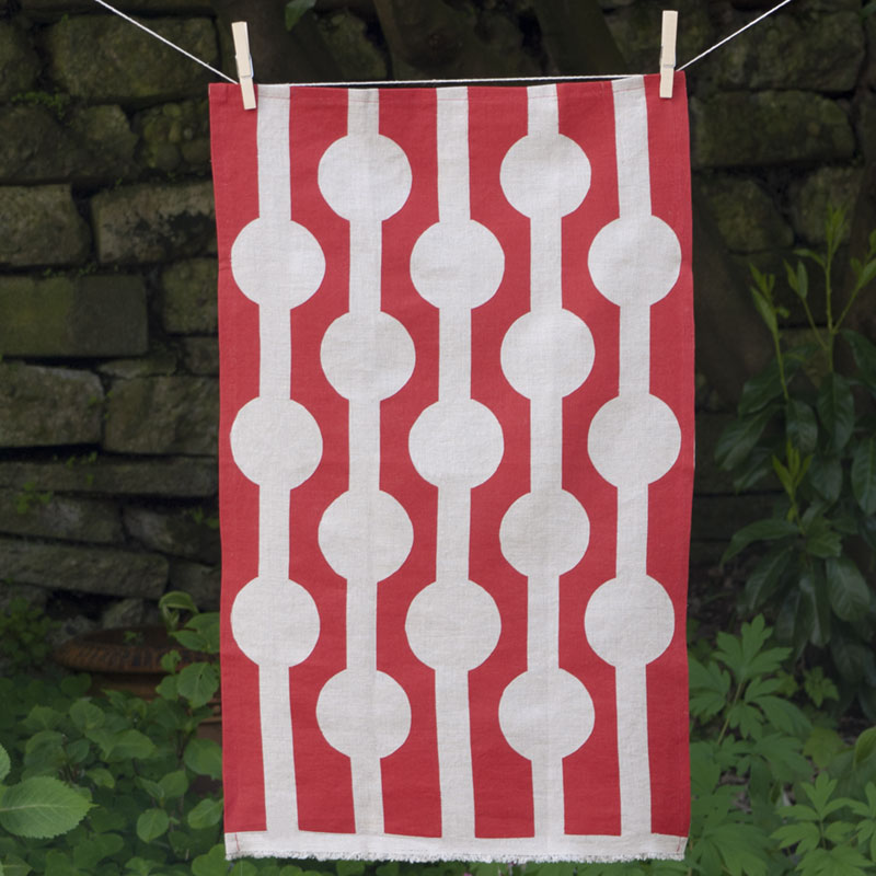 Red Circles Linen Tea Towel