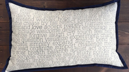 Words to Live By Linen Pillow - Actions - Navy Blue