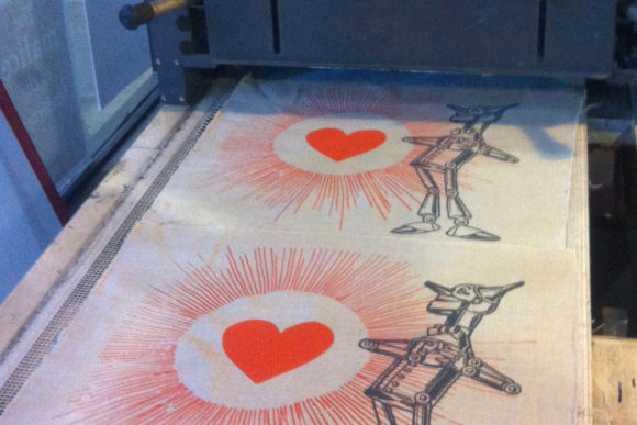 Tin Man Pillow Being Heat Set after Printing