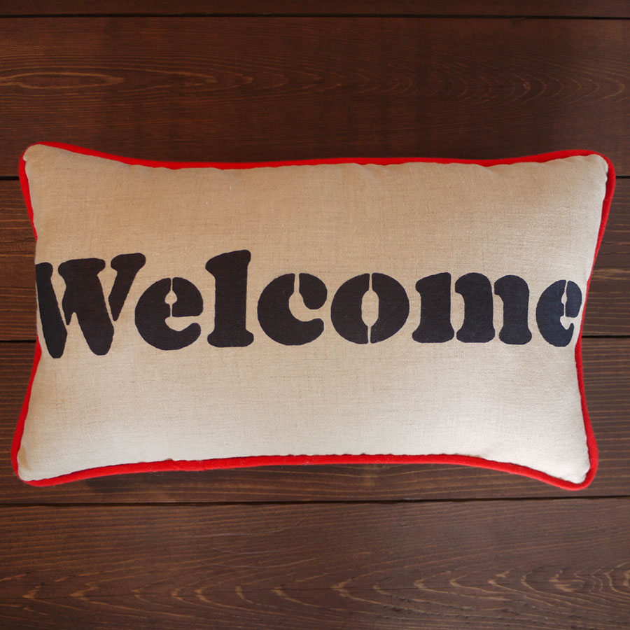 Welcome Pillow Navy and Red