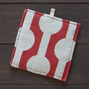 Modern red potholder by Suzanne Harrison Home