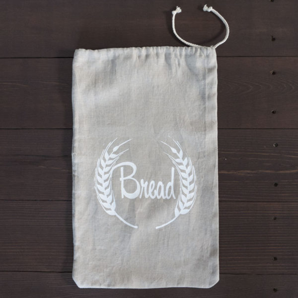 Natural Linen Bread Bag Laying Flat