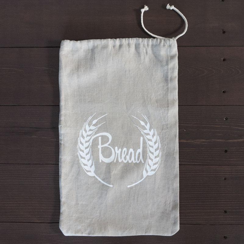 Natural Linen Bread Bag Laying Flat