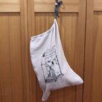 Linen Travel Laundry Bag Hanging Up