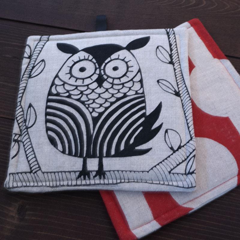 Owl Potholder with Red Potholder
