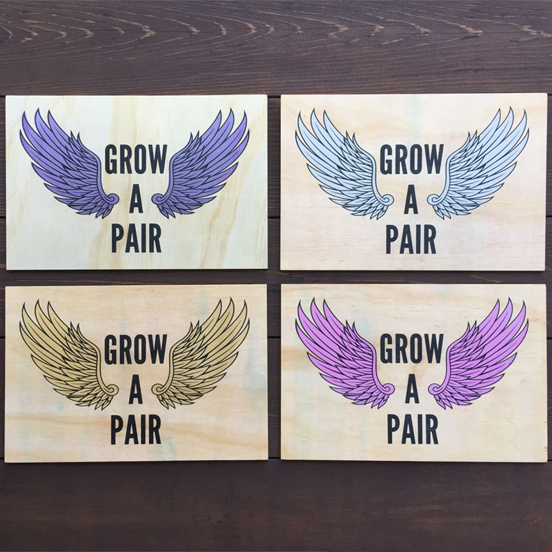 Grow a Pair of Wings Wood Wall Art - in Four Colors