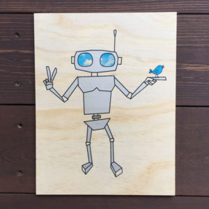 Robot Print Wood Wall Art